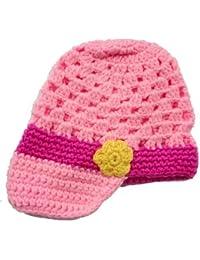 LadyMYP©Handgemachte Strickmütze, Babymütze, Kindermütze, Hüte, 100% Wolle, Rosa-Pink Mütze mit Gelben Blumen
