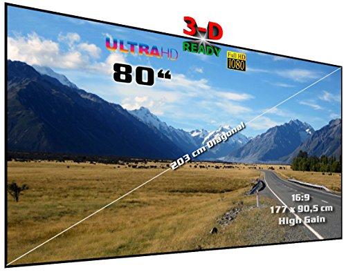 "Rahmenleinwand starr | 80"" (Ø = 203 cm), 16:9, 177 x 99,5 x 2 cm | Heimkino High Gain Hochkontrast Projektionswand, besonders für Passiv-3D | Typ ST-Flatscreen-HS"