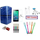 KTC Plus_(7in1-combo) Blue Leather Rich Boss Flip Cover Case,Handsfree,Tempered Glass,USB LED Light,MINI OTG Adapter,Micro SD Card Reader And 3.5mm Jack Aux Audio Cable For Xiaomi Redmi A1 /Mi A1 /dual Camera