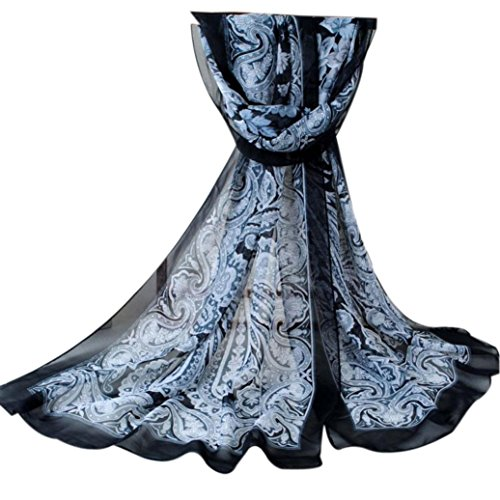Zolimx Langer Abschnitt Der Schal Mode für Frauen Printed Chiffon (B)