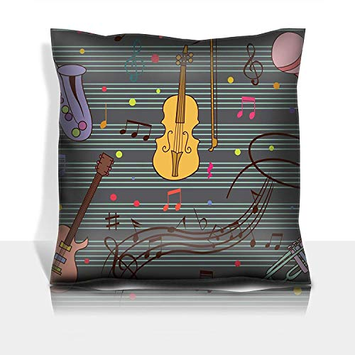 se Cotton Satin Comfortable Decorative Soft Pillow Covers Protector Sofa 18x18 1 Pack Funny and Cute Music Set ()