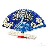 f-p1-royal blau Oriental Fan Party Kostüm Kunststoff Seidiger Satin Faltfächer mit Pfau und Blumen on-royal blau