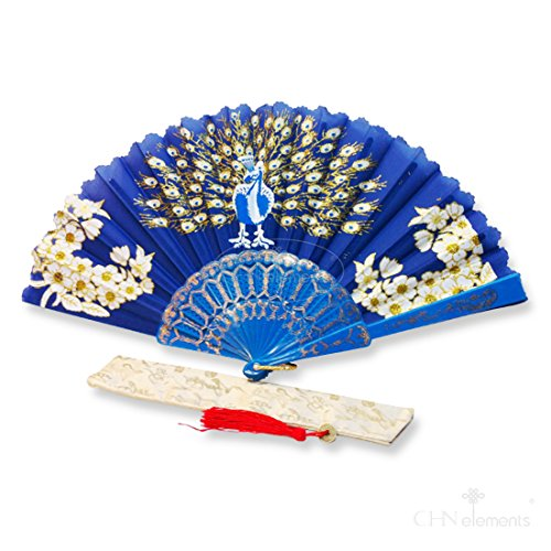 f-p1-royal blau Oriental Fan Party Kostüm Kunststoff Seidiger Satin Faltfächer mit Pfau und Blumen on-royal blau -