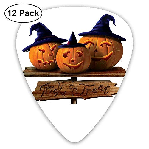 Halloween Pumpkins with Blue Hats Classic Guitar Pick (12 Pack) for Electric Guita Bass