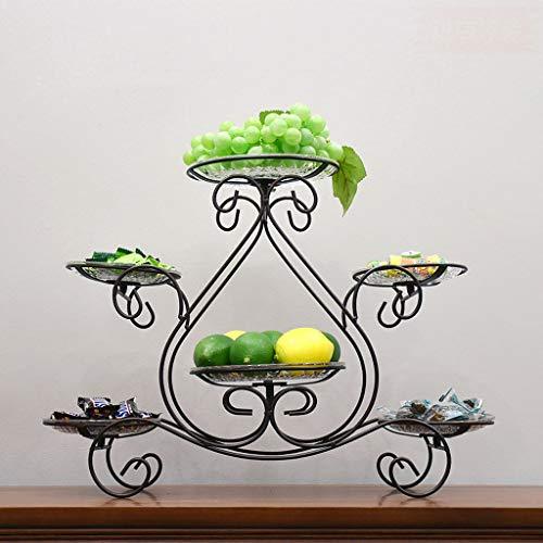 C&S Europäische mehrschichtige Obstteller Kuchen Rack Home Süßigkeiten Trockenfrüchte Snack Tray Rack Bankett Hochzeit Set Tabelle Obstplatte Schmiedeeisen (Color : Bronze) -
