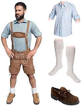 Herren Trachten C Set 5-teilig Trachten Lederhose * kurz * HELLBRAUN 46-60 Trachtenhemd Schuhe Socken Oktoberfest