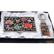 Mère de perle rouge pivoine Fleur Porte-clés Support Business crédit Nom Porte Carte d'identité Slim Argent cas de
