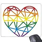 Mofeta Rainbow Gay lésbico LGBT transgénero bisexuals modelos de apoyo corazón ilustración Rectángulo antideslizante de goma Mousepad ratón juego almohadilla