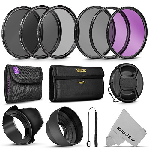 52MM Must Have Lens Filter Accessory Kit for NIKON D3300 D3200 D3100 D3000 D5200 D5100 D5000 D7000 D7100 DSLR Camera - Includes: 52MM Vivitar Filter Kit (UV CPL FLD) + ND Neutral Density Filter Set (ND2 ND4 ND8) + Carry Pouch + Tulip Lens Hood + Collapsible Lens Hood + Snap-On Front Lens Cap + Cap Keeper Leas + MagicFiber Microfiber Lens Cleaning Cloth  available at amazon for Rs.4302