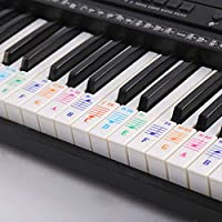 kuou Color Piano Stickers, Music Piano Keyboard Stickers Transparent and Removable with Free Piano Ebook