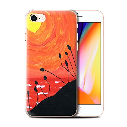 Stuff4 Hülle / Case für Apple iPhone 8 / Gelb Muster / Sonnenuntergang Ölgemälde Kollektion Orange