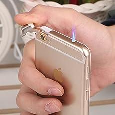 BOOM SHANKARA iPhone Shape Durable Cigarette Lighter with LED (Golden, LIGHTER0002F)