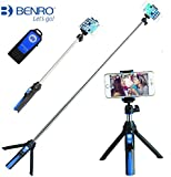 Handheld Tripod 3 in 1 Self-portrait Monopod Extendable Phone Selfie Stick with Built-in Bluetooth Remote Shutter - Blue