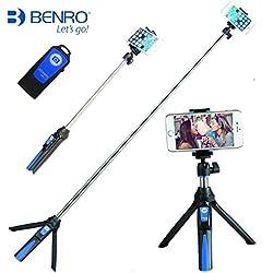 Palmare Treppiede 3 in 1 monopiede allungabile del bastone per selfie con otturatore integrato Bluetooth Remote(Blu)