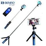 Handheld trípode 3 en 1 Monopie de autorretrato extensible teléfono selfie stick con disparador remoto por Bluetooth(Azul)