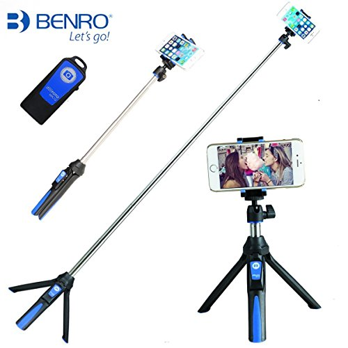 Selfie Stick Stange mit Stativ Bluetooth Fernbedienung, Stativ 3 in 1 Selbstporträt Monopod Handy Bluetooth Remote Shutter für iphone X 8 plus- Blau