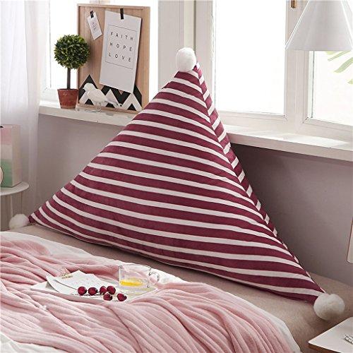 MMM- Chevet Souple Triangulaire Grand Dossier Lit Canapé Oreiller Lavable Double Tapis de Coussin (Couleur : Rouge, taille : 180*75cm)
