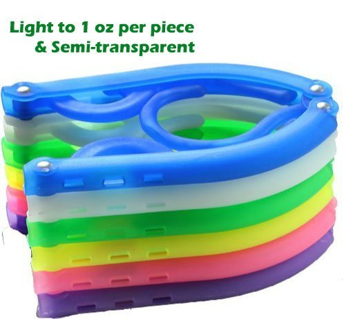 adwaita 8Stück (bunt) PP faltbar Kleiderbügel Leichtes Gewicht, halbtransparent, rutschfeste function-can verwendet werden wie Baby Kleiderbügel und Kleiderbügel für Erwachsene (Falten-shorts Schule, Kleidung)