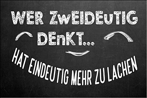 Schatzmix Spruch Wer Zweideutig Denkt... Hat eindeutig mehr zu lachen. Metallschild 20x30 cm Wanddeko tin Sign Blechschild, Blech, Mehrfarbig