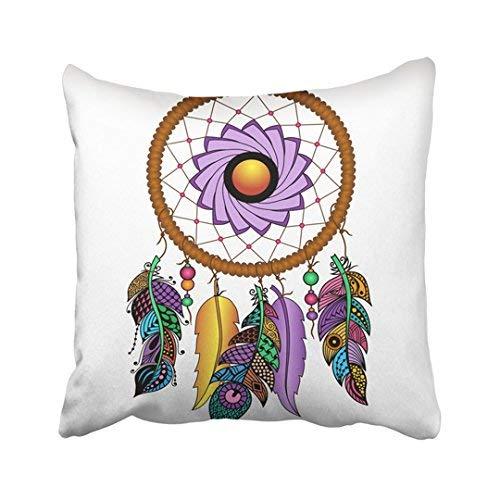 ZGNNN-EU Talisman Indio Nativo Americano de Colores atrapasueños con Plumas y Luna Hipster Blanco Lona Decorativa Fundas de cojín 18 x 18 Throw Funda de Almohada para el hogar y Regalos