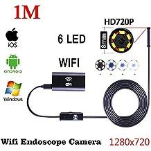 Boroscopios Camera,HD720P Lente de 8mm Lente Cámara de endoscopia WIFI 5m, 3.5m, 1.5m, 1m, tubo de serpiente Micro-cámaras 6 Leds impermeable endoscopio Borescope USB Iphone Android Borescope IOS Tablet Wireless Borescope Camera