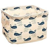 Hosaire Boîte de rangement pratique tiroir en tissu Motif baleine Boîte pour maquillage,jouets, cuisine