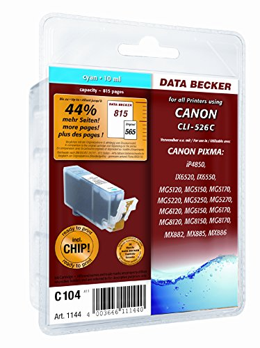Print Maxx CanonC104 Cyan mit Chip, kompatibel zu CLI526; 10ml: Clever: Geld sparen mit der nagelneuen Canon-Ersatzpatrone von DATA BECKER!
