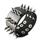 papapanda Punk Schwarz Armband mit Metall Nieten