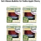 4 Paquetes De Popaball Manzana Verde y Cereza Burbujitas Por Vodka Prosecco Té Cóctel