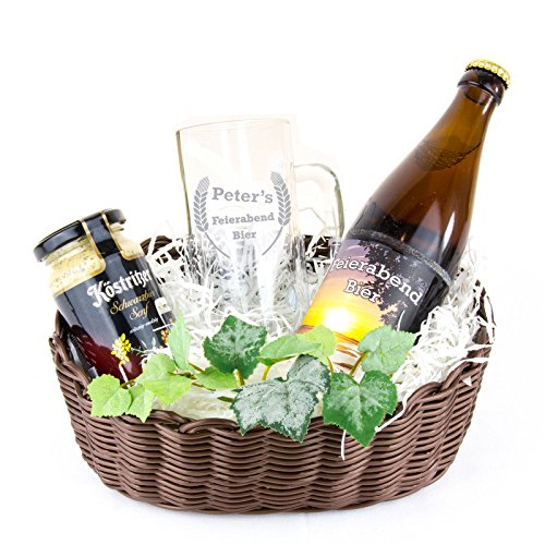 """Geschenkkorb """"Feierabendbier"""" / Bierpräsent - Bierhumpen mit individueller Namensgravur, Motto-Bieretikett und Schwarzbiersenf"""