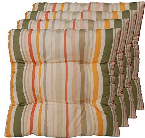 4er Set Sitz-kissen aus deutscher Herstellung, Stuhl-polster Beige, Grün, Gelb, Rost 40x40 cm (Sitzkissen Rost)