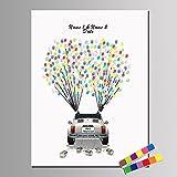 RSD Unterschrift Gemälde Kreative DIY personalisierte Fingerabdruck Gemälde Leinwand - Hochzeit Auto (enthält 12 Tinte Farben), custom, 40*60cm