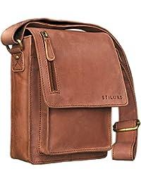 STILORD 'Finn' Borsello da uomo in vera pelle Borsa a tracolla per Tablet da 8, 4 pollici in cuoio Resistente borsetta messenger stile vintage di qualità , Colore:cognac - marrone chiaro