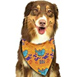 Sdltkhy Pet Bandana Funny Dinosaur Skull Orange Washable and Adjustable Triangle Bibs for Pet Cats and Puppies