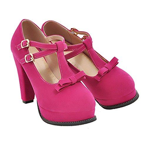 YE Damen T-spangen Geschlossen High Heel Plateau Pumps mit Schleife und Blockabsatz Schuhe Weinrot