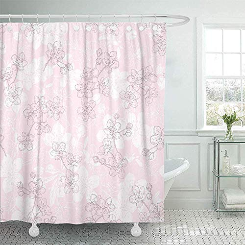 Sangeigt Duschvorhang Bath Curtain, Shower Curtain Home Postcard Decor Blossom Floral with erry Flowers On Pink Botanical Bran Contour Drawing Elegant Shower Hooks Set Are Included