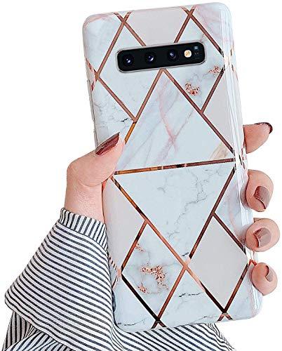 Herbests Kompatibel mit Samsung Galaxy S10 Plus Hülle Handyhülle Weich TPU Silikon Schutzhülle Marmor Muster Glänzend Glitzer Bling Ultra Dünn Soft Handytasche Bumper Case Etui,Weiß Gold