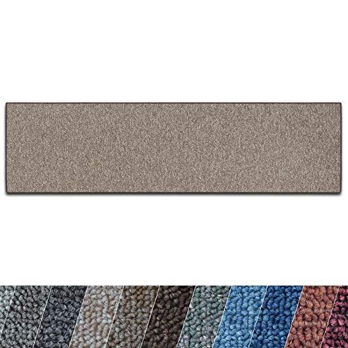 casa pura Teppich Läufer London   Meterware   Teppichläufer für Wohnzimmer, Flur, Küche usw.   flacher Schlingenflor   mit Stufenmatten kombinierbar (Hellbraun - 100x300 cm)