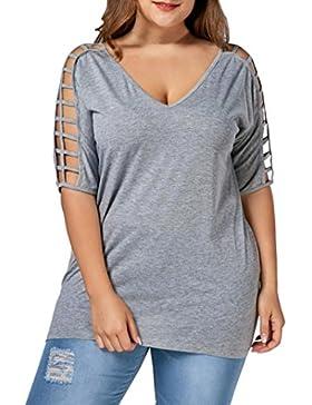 Lenfesh Blusas de Mujer Elegantes Baratas Tallas Grandes Sexys Camisetas de Mangas Medias Mezcla de Algodón Blusas...