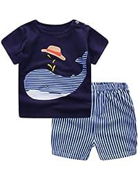Jimmackey Neonato Unisex Camicia Stampa Balena Cime T- Shirt + Striscia Pantaloncini Abiti Set