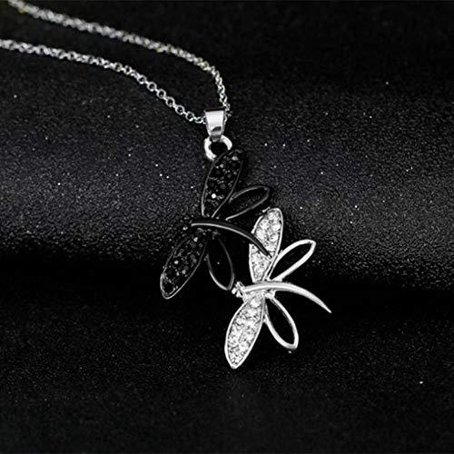 YANOAID Einfache Mode Silber Farbe Halskette White & Black Double Dragonfly Anhänger Halsketten Schmuck