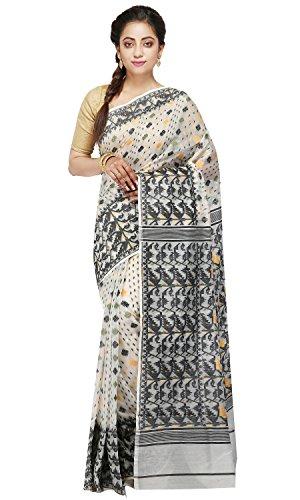 B3Fashion Handloom Traditional Soft Pure Muslin Dhakai Jamdani saree (Offwhite & Black)