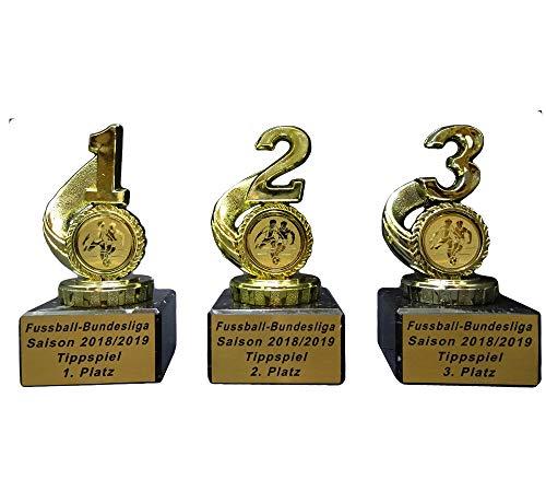 RaRu 3 Fußball-Pokale für Bundesliga-Tippspiele mit Gravur a9395e60cde