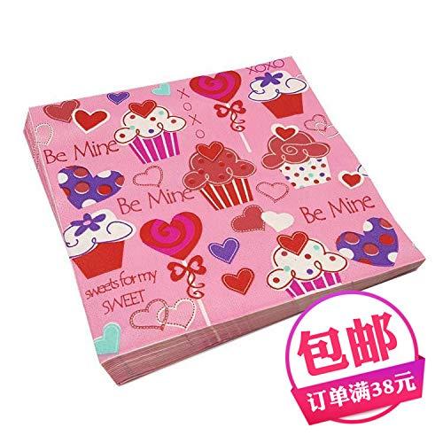 Wllenen Farbe Kreatives Drucken Quadrat Tissue Taschentuch Toilettenpapier Kuchen Geburtstag Party Party Dessert Tabelle Tischset Tasse Blume Papier Zehn Packung