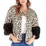 Luckycat Frauen Winter beiläufige Leopard Patchwork Jacke Outwear Jacken Mäntel Sweatjacke Winterjacke Fleecejacke Steppjacke