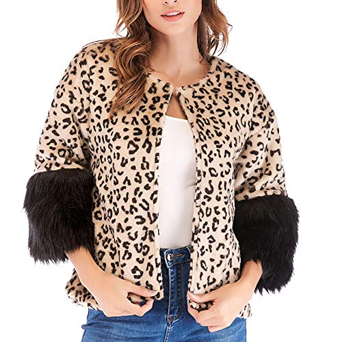 IMJONO Frauen Winter Casual Leopard Patchwork Jacket Outwear Coat Outercoat (Medium,Khaki)