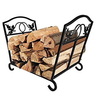 Amagabeli Fireplace Log Holder and Carrier Birch Logs Bin Fire Place Wood Stove Stacking Rack Indoor Caddy for Firewood Firelog Tools Metal Kindlings Bucket Wrought Iron Black Tool Set Accessories