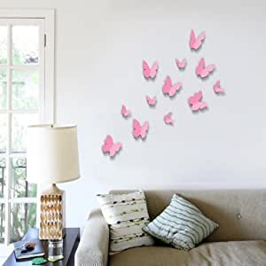 Walplus Pink 3D Butterfly  Wall Stickers 12-Piece Removable Self-Adhesive Mural Art Decals Vinyl Home Decoration DIY Living Bedroom Décor Wallpaper Kids Room Gift, Pink