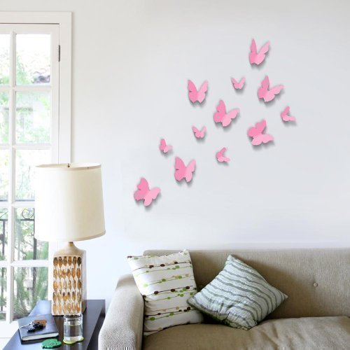 walplus-pink-3d-butterfly-wall-stickers-12-piece-removable-self-adhesive-mural-art-decals-vinyl-home