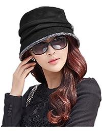 SIGGI lana Cloche redondas para sombreros para mujer 1920s Fedora Vintage de cubo sombreros de invierno